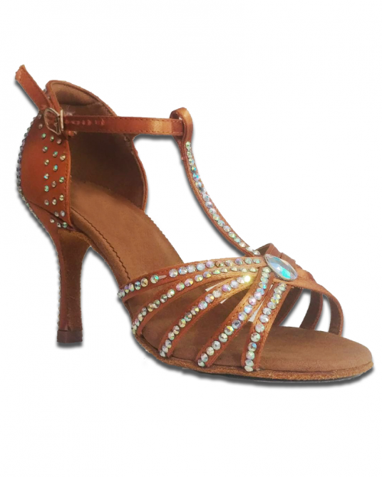 Sandalo Da Ballo Elite Con Strass Brown